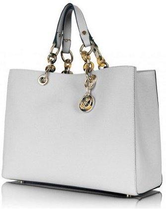 b4259bffe2bb Michael Kors Cynthia Saffiano Satchel Medium White - купить ...