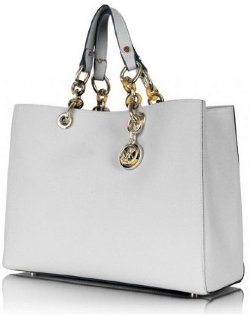 Michael Kors Cynthia Saffiano Satchel Medium White