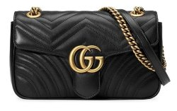 GUCCI GG Marmont Matelasse Shoulder Black